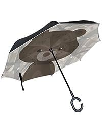Mnsruu Paraguas invertido de Doble Capa con patrón de Oso de Dibujos Animados, Paraguas Plegable