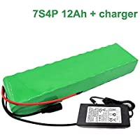 Seilylanka avec Chargeur 24V 12Ah 25.9V Li-ION Battery Pack E-vélo vélo électrique 7S4P 38x68x260mm