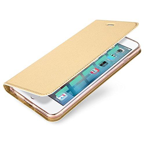 Galleria fotografica Flip Cover Case, Custodia a Libro Portafoglio Wallet Per iPhone 6, TPU Bumper Eco Pelle PU, Chiusura Magnetica a Calamita, Protezione Fronte Retro Anti Caduta DUX DUCIS (Oro)
