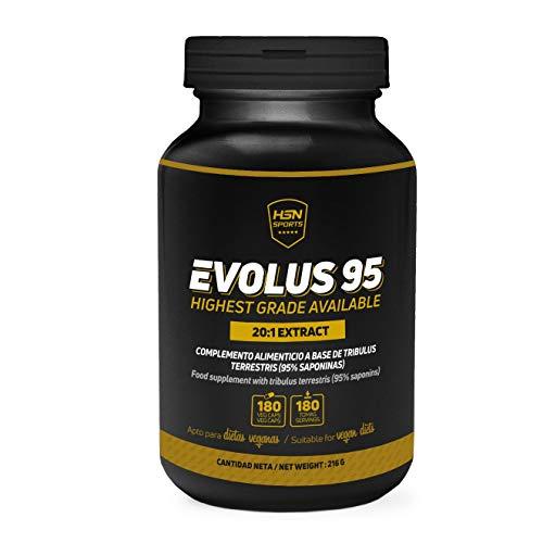 Evolus 95 de HSN Sports | Tribulus Terrestris 95{847adcb51c287de2639cabd88b7f65221a86c03ae1bbb9d382093b28fbf3a45b} Saponinas | Más Masa Muscular, Aumento Testosterona Natural, Mayor Líbido, Apto Vegano, Sin Gluten, Sin Lactosa, 180 Capsulas Vegetales