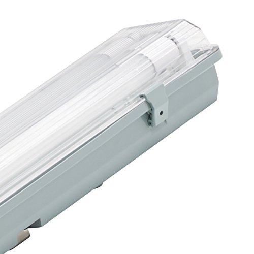 Müller Licht 20800199 A+ LED Feuchtraumleuchte Aqua-Promo 2 x 18 W Röhre, Plastik, grau, 126.5 x 11.5 x 8.6 cm