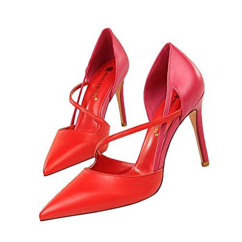 High-heel-sandalen Slip (Minetom Damen Sandalen High Heels Slingback Stiletto Peep Toe Pumps Glitzer Party B Rot 37 EU)