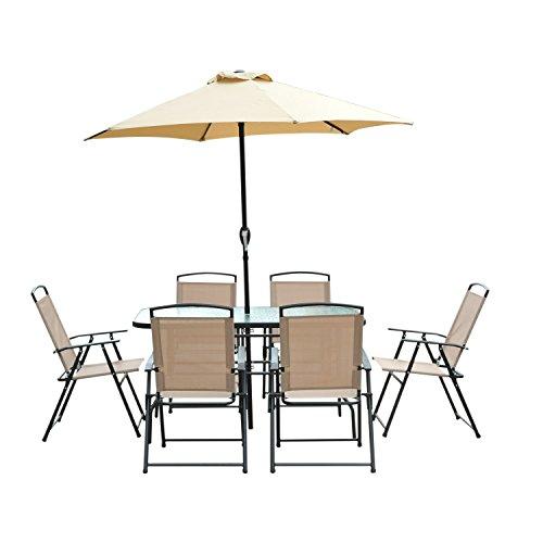 Conjunto de Muebles para Jardín Terraza y Exterior con Sillas Plegables Sombrilla y Mesa de Cristal