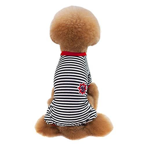 Spider Dog Black Kostüm - PZSSXDZW Hundebekleidung Gestreifte Haustierkleidung Hundet-Shirt aus Baumwolle Klein und mittelgroß Hundepyjamas Black XX-Large
