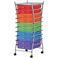 mondex INX404-00 - Mueble auxiliar con ruedas y 10 cajones (metal, 32,5x39,5x84cm), multicolor