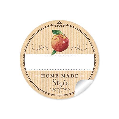 """24 STICKER: """"Home Made Style"""" 24 Schöne Etiketten für selbstgemachtes Apfelmus in Natur mit einem Apfel und mit Freitextfeld (A4 Bogen) • Papieraufkleber ( Aufkleber im Format 4 cm, rund, matt ) für Gastgeschenke, Einmachgläser, Apfelmusglas u.v.m."""
