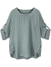 Damen Tops Plus Größe Rovinci Sommer Herbst Langarm T-Shirt Einfarbig Bluse  O-Ausschnitt Top Mode Frauen Elegante Lose Leinen 3 4… 9781ed1d1b