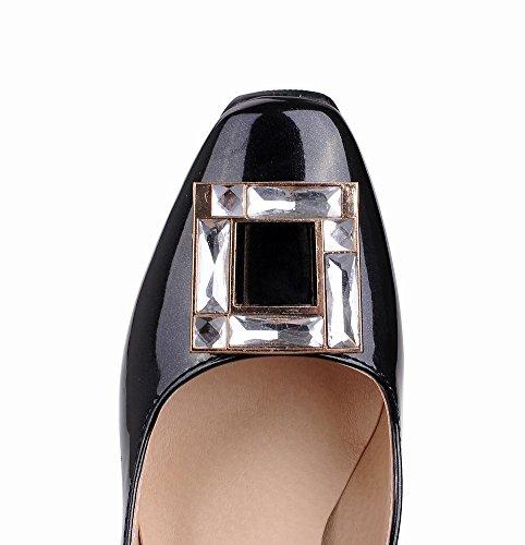 Mee Shoes Damen vierkant chunky heels Strass Lackleder Pumps Schwarz