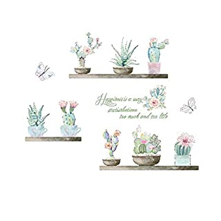 AWAKINK Cartoon Cactus Pot Green Colorful Plants Butterflies Pastoral Style Wall Stickers Wall Decal Vinyl Removable Art Wall Decals Bedroom Living Room Nursery Room Children's Bedroom