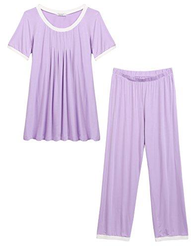 Unibelle pigiama due pezzi pigiami estivi donna collo a u vestaglia ragazza maniche corte con pantalocini viola xl