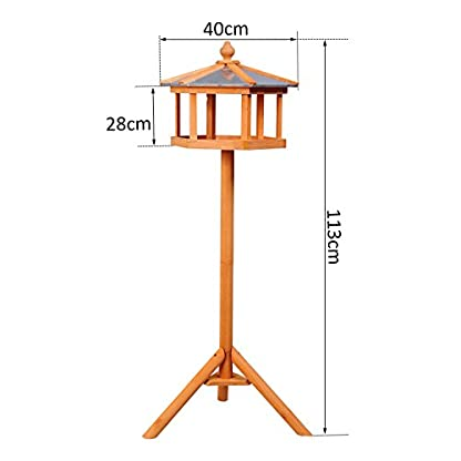 PawHut Deluxe Bird Stand Feeder Table Feeding Station Wooden Garden Wood Coop Parrot Stand 113cm High New 2