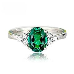 Idea Regalo - Hahat Anello con diamante verde smeraldo Anello aperto Anello con sirena in cristallo blu regolabile Anello con zircone in cristallo con diamante Taglia unica regolabile per le donne Regalo per ragazza