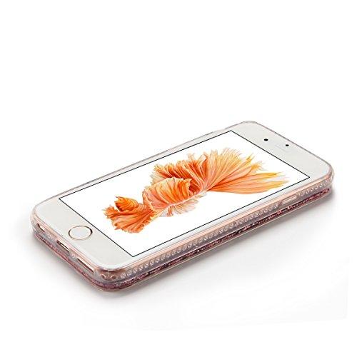 Cover iPhone 6 Custodia iPhone 6s Liquido Anfire Trasparente Rigida Duro Plastica PC Case per Apple iPhone 6 / 6s (4.7 Pollici) Sabbie Mobili Shell 3D Bling Glitter Floating Quicksand Copertura Hard S Rosa Patatine Fritte