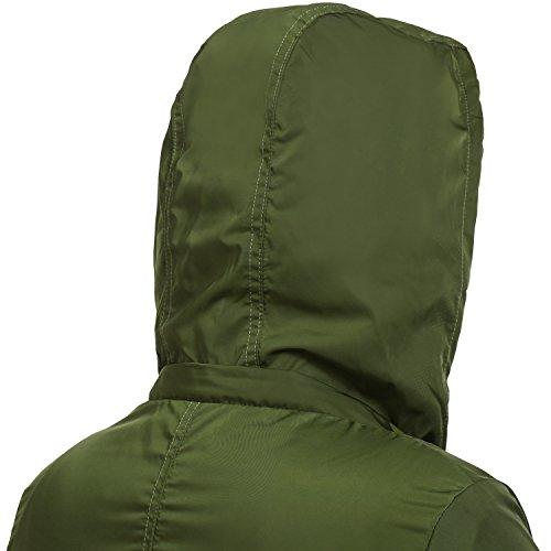Funktionsjacke Damen Pagacat Abnehmbare Kapuze Winddicht Wasserdicht Regenjacke JackeÜbergangsjacke Armeegruen