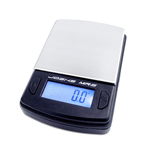 La báscula de bolsillo digital Josh MR5con división 500g/0,1g El color es negro y se para el transporte seguro de la tapa de protección Fácil plegado. aumenta la superficie de pesaje de acero inoxidable y es fácil, por lo tanto, puede ser el pesaj...