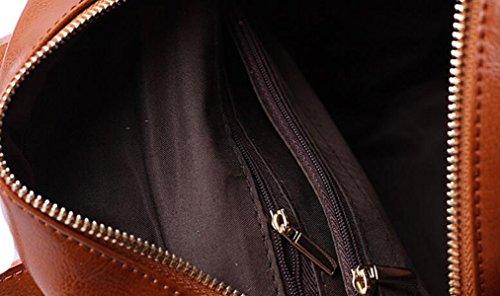 Frauen Tasche College Tasche Tasche Leder Schulter Tasche Rucksack Einfache Mode Wild Black