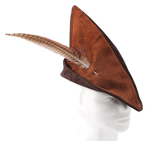 Fantashion K 72 - Spitzhut aus Leder, Robin Hood Mütze, rotbraun/Dunkelbraun