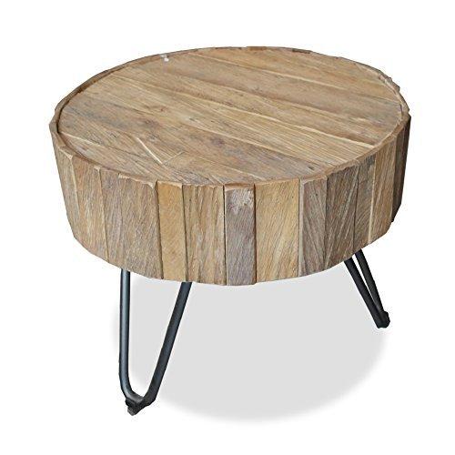 Teakholz Rustikal Couchtisch (Runder Beistelltisch LAGOS Couchtisch Teakholz Massivholz sandgestrahlt Durchmesser 50cm Industrial Design 14250)