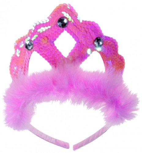 Widmann 8666T, Prinzessinenkrone oder Tiara in ROSA auf Haarreif mit Pailetten und Strasssteine für Kinder, Jugendliche und (Ballerina Für Kostüm Ideen Erwachsene)