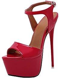 Tacco a Spillo da Donna Tacco a Spillo Piattaforma di Sandali Cinturino  alla Caviglia Fibbia Tacchi Alti da Sera Scarpe da… 52cbcf8751e