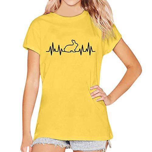 CAOQAO 2019 Damen Kaninchenherz-Form Druckte Lose BeiläUfige Kurzarm-T-Shirt üBersteigt Bluse(XXL,Gelb)