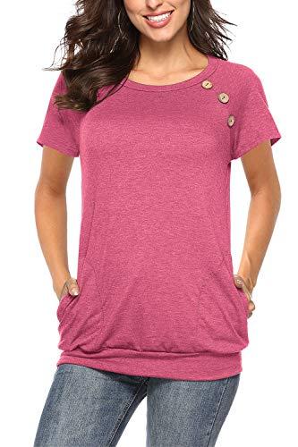 NICIAS Damen Sommer T-Shirt Kurzarm Oberteil Shirt Lässige Schaltflächen Hemd Bluse Tunika Top mit Taschen Rosa L - Arbeit Frauen Für Stiefel Rosa