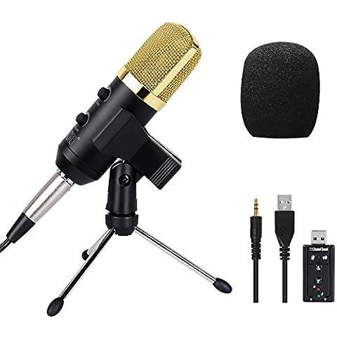 Tonor Microfono 3.5mm Professionale  a Condensatore Cardioide Sound Studio Recording con Supporto per Registrazione Laptop e Skype - 4 Condensatore Cardioide