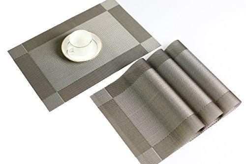 YO FUN Lot de 4 Napperons Résistant à la Chaleur PVC Placemats Elegants Pour la Table Salle à Manger 45x30CM, Lin