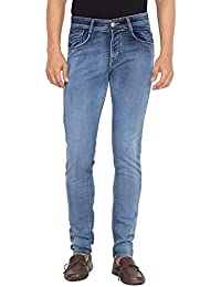 Flying Port Men's Slim Fit Cotton Lycra Dark Sky Blue Jeans