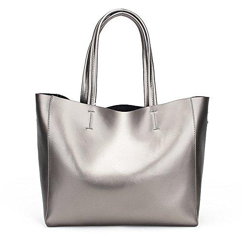 YY-Rui Damen Tasche Handtasche Schultertasche Umhängetasche Tote Bag Leder mit Praktischem Innenleben Shopper, 34x15x30cm, Silber (Boston Große Bag)