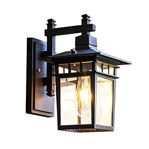 Vintage Gartenlampe Außen-Wandleuchte Schwarz Aluminium Retro Rustikal Wandlampe Aussen mit Glas Lampenschirm Antik Aussenleuchten E27 Licht Wasserdichte IP23 Design Patio Foyer Balkon 18*23*31CM - Foyer Lichte Höhe