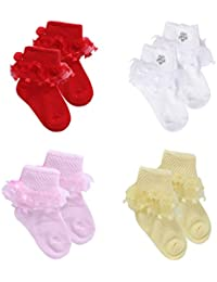 GURU KRIPA BABY PRODUCTS ® Presents New Born Baby Fancy Socks For Infant Girl Cotton Bootie Frill Socks For Baby Girl