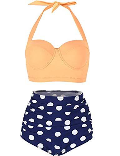 FeelinGirl 50er Damen Frauen Badeanzug Bademode Rockabilly Bikini Set-Hohe Taillen-Neckholder-Bauchweg, Gr.-XL(EU 38), Gelb (Neckholder-tankini Retro)