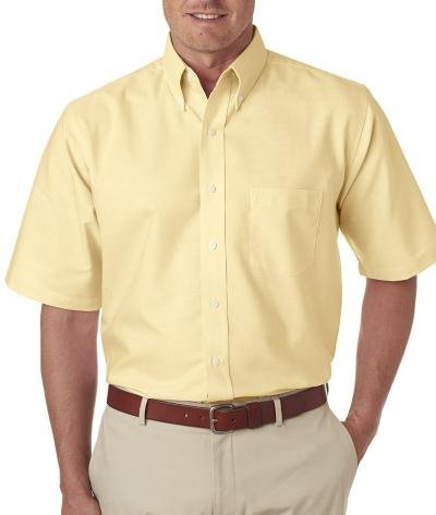 UltraClub Men's Classic Wrinkle-Free Short-Sleeve Oxford (Butter) (XLarge)