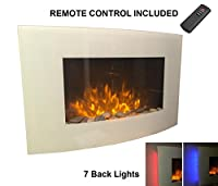 """Galleon Fires - Original White """"Taurus"""" - LED side lights - Realistic Electric Fireplace - Curved Glass Frame - Wall Mounted Glass Fire - Pebble Effect - WHITE - CURVED - Electric Heater Fire Place / Fireplace - Large 88 cm Wide - 7 Colours LED Backlights"""