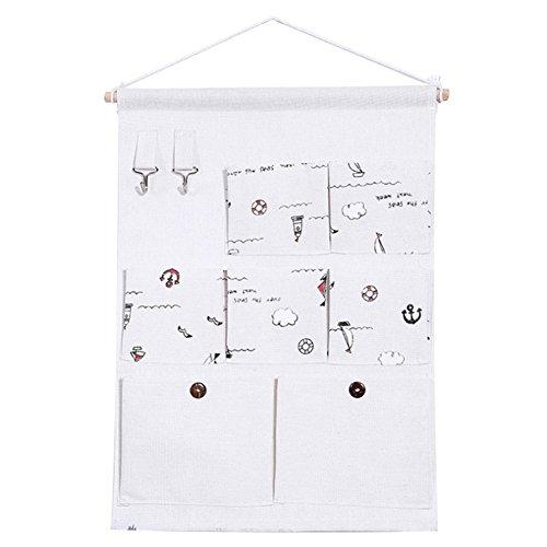 Gespout Multifunktions-7-Pocket-Speicher Tasche Baumwoll und Leinen Aufbewahrungshänge Tasche Hängetasche Wand-Aufbewahrungsbeutel Garderobe Türtuch Stofftasche 2#