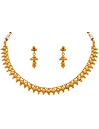 JFL - Traditional And Ethnic One Gram Gold Plated Designer Necklace Set With Earring For Women & Girls.