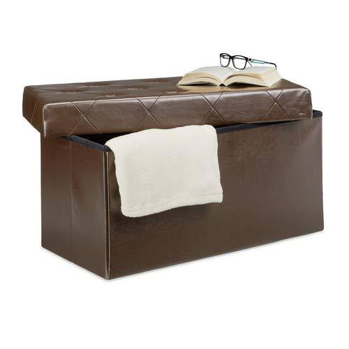Relaxdays Faltbare Sitzbank, Aufbewahrungsbox für Stauraum, HxBxT: 38 x 78 x 38 cm, Sitzhocker, Kunstleder, braun - Leder-falt-hocker