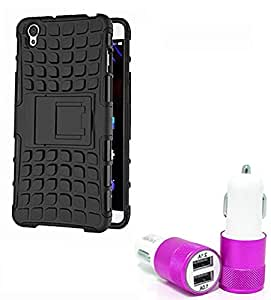 Droit Shock Proof Protective Bumper back case with Flip Kick Stand for ONE-PLUS 1+X + Car Charger With 2 Fast Charging USB Ports by Droit Store.