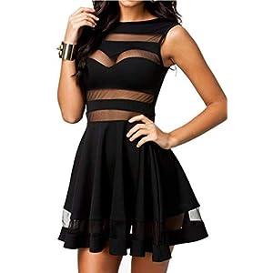 Zeagoo Damen Sexy Hohe Taille Partykleid Cocktailkleid Sommerkleid Bodycon MiniKleid mit Mesh Clubwear A-Linie Kleid