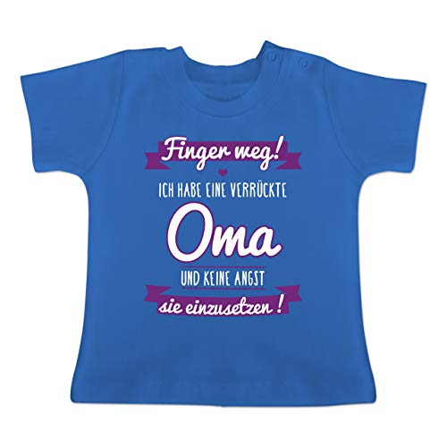 Sprüche Baby - Ich Habe eine verrückte Oma Lila - 1-3 Monate - Royalblau - BZ02 - Baby T-Shirt Kurzarm - Verrückt Mens T-shirt