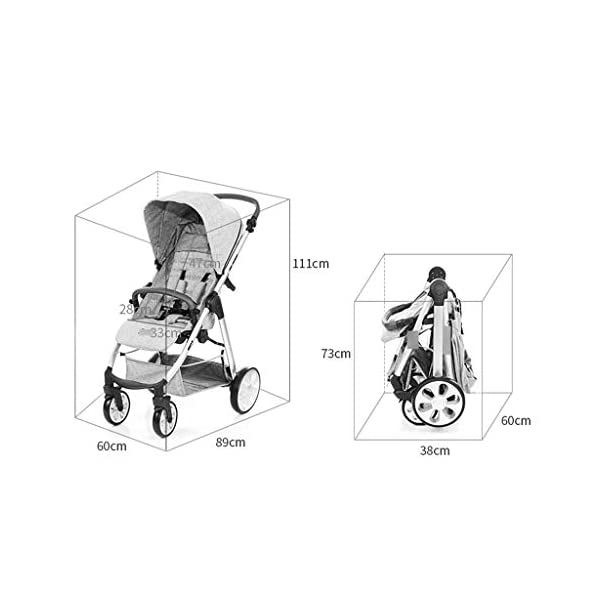 Baby Stroller One-button Car Stroller Shock Absorber Stroller Light High Landscape Can Sit Reclining Fold (Color : WHITE, Size : 111 * 89 * 60CM) Strollers Zhangsisi ☻【Scope of use】Twin strollers for urban and rural multi-purpose trolley bearing an amazing amount of public plate, and comfortable to use, powerful ☻【powerful functions】 Convenient for travel and driving, our baby car is easy to fold, small footprint, single wheel suspension, front tray, accessories, adjustable seat angle, sturdy frame with adjustable seat adjustment and comfortable fit baby chair. ☻【safe and comfort】 Baby can not afford to hurt, the most important health, safety and comfort, a key release of 5-point seat belts. 7