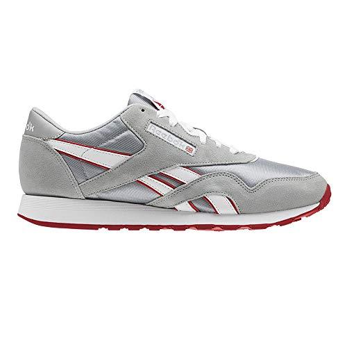 Reebok Flash (Reebok Herren Cl Nylon M Fitnessschuhe, Mehrfarbig (Archive/Baseball Grey/White/Flash Red 000), 42.5 EU)