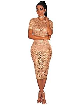 Moda Vestido | Vestido para mujer Las mujeres en Europa y América | oro rosa vestido tejido | tienda una noche...