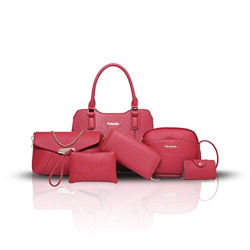Sunas 2017 nuove borchie della borsa delle donne 6 insiemi di modo delle cuciture delle donne dei pattini hanno colpito il raccoglitore diagonale della spalla di colore della spalla rosso