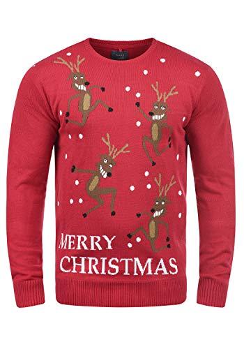 Blend Rudolph Herren Strickpullover Weihnachtspullover Mit Rundhalsausschnitt, Größe:L, Farbe:Pomp Red/Christmas (73859)