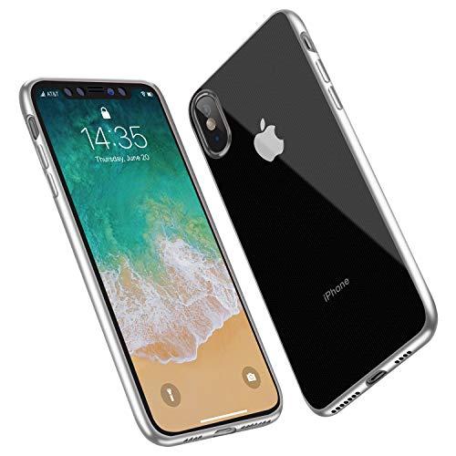 ANTTO Hülle für iPhone XS Max, Transparent Hülle Soft Silikon Handyhülle Ultra Dünn Case Kratzfest Rutschfest Schutzhülle Clear Bumper Cover für iPhone XS Max (6.5 Zoll) - Silber Rutschfest
