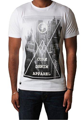 Männer-T-Shirt gedruckt Grafik Top Kurzarm 'Crosser' Dissident 1C7628 Optic Weiß
