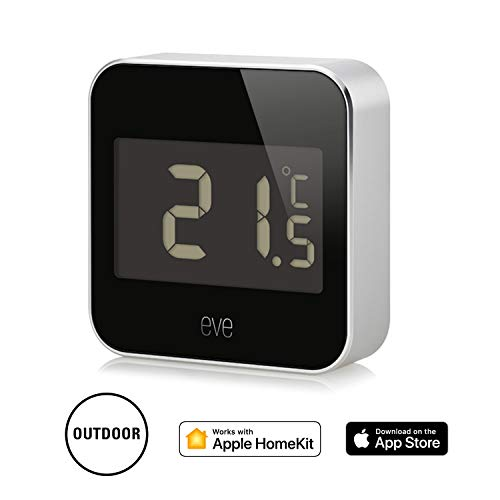 Eve Degree - Stazione meteo connessa per monitorare temperatura, umidità e pressione dell'aria, impermeabilità IPX3, display LCD, Bluetooth Low Energy, non richiede bridge, nero