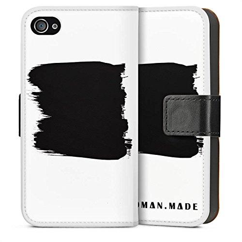 Apple iPhone 5s Housse Étui Protection Coque Peinture Noir Art Sideflip Sac